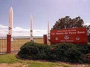 Photo of the entrance to Warren Air Force Base in Cheyenne, Wyoming.
